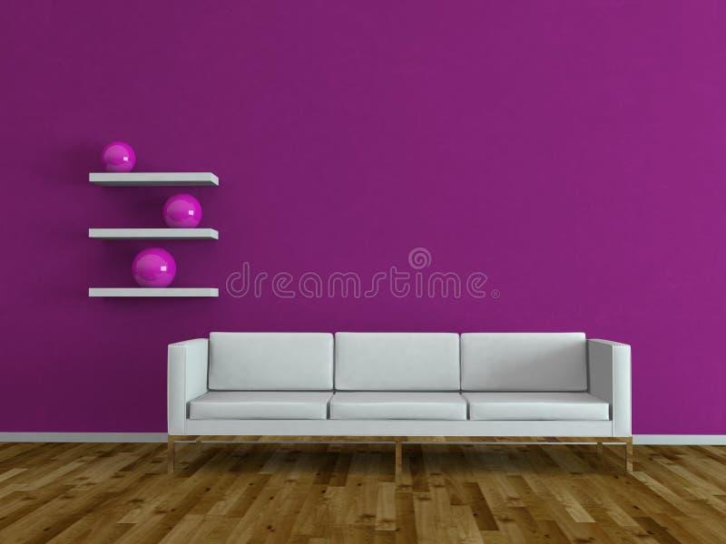 Pièce lumineuse moderne de conception intérieure avec le sofa blanc photo stock