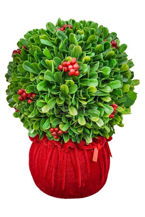 Pièce maîtresse de décor de buisson de Noël d'isolement sur le fond blanc Disposition de sphère de buis image libre de droits