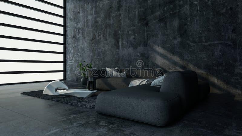Pièce minimaliste avec le sofa dans l'appartement moderne illustration stock