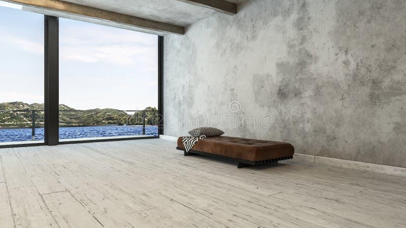 Pièce minimaliste d'appartement terrasse avec le sofa et la vue de banc illustration stock