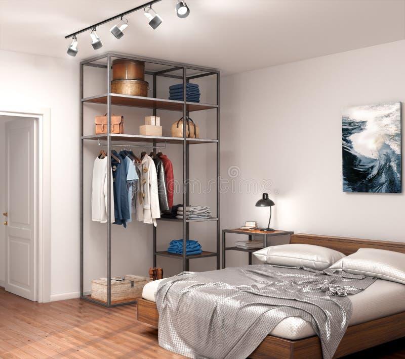 Pièce moderne avec un placard ouvert en métal, un lit et une lampe près du mur illustration de vecteur