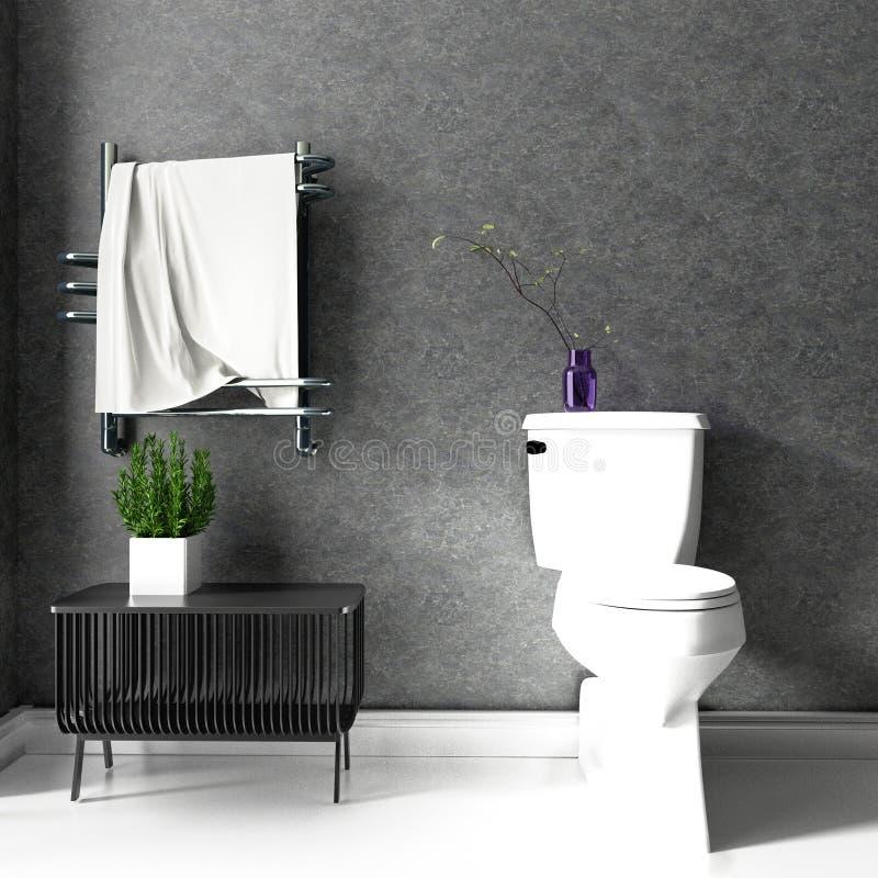 Pièce moderne de toilette de style de grenier rendu 3d illustration libre de droits