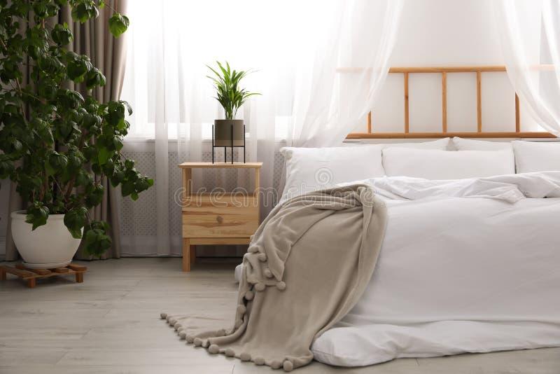 Pièce moderne légère intérieure avec le lit image stock