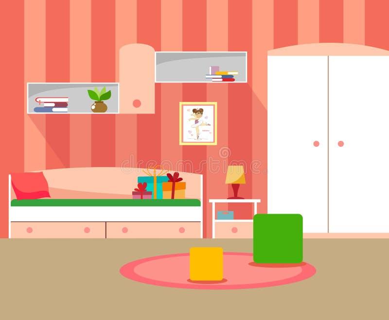 Pièce moderne pour des filles dans des couleurs roses de style plat illustration stock