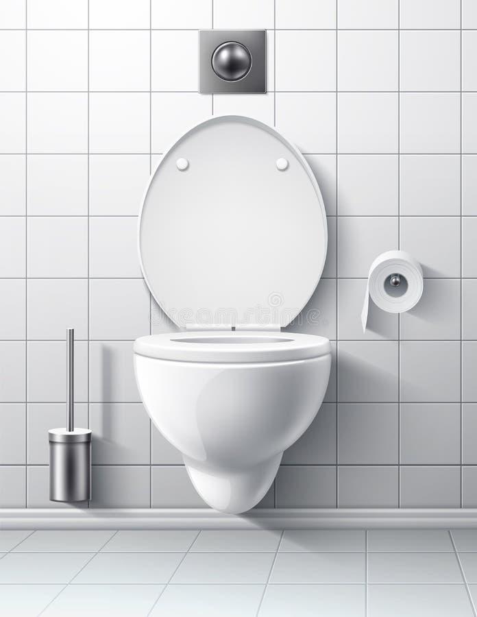 Pièce moderne réaliste de toilette de vecteur remettant la cuvette illustration stock