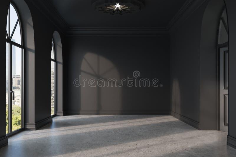 Pièce noire vide avec un plancher en béton illustration libre de droits