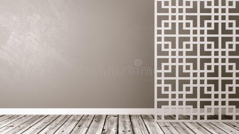 Pièce orientale vide de style avec Copyspace illustration stock