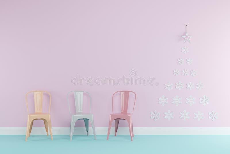 Pièce rose de concept de Noël et bleue en pastel intérieure avec les chaises jaunes, vertes, et roses en pastel réglées pour l'es illustration libre de droits