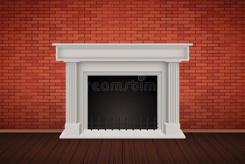 Pièce rouge de mur de briques avec la cheminée illustration de vecteur