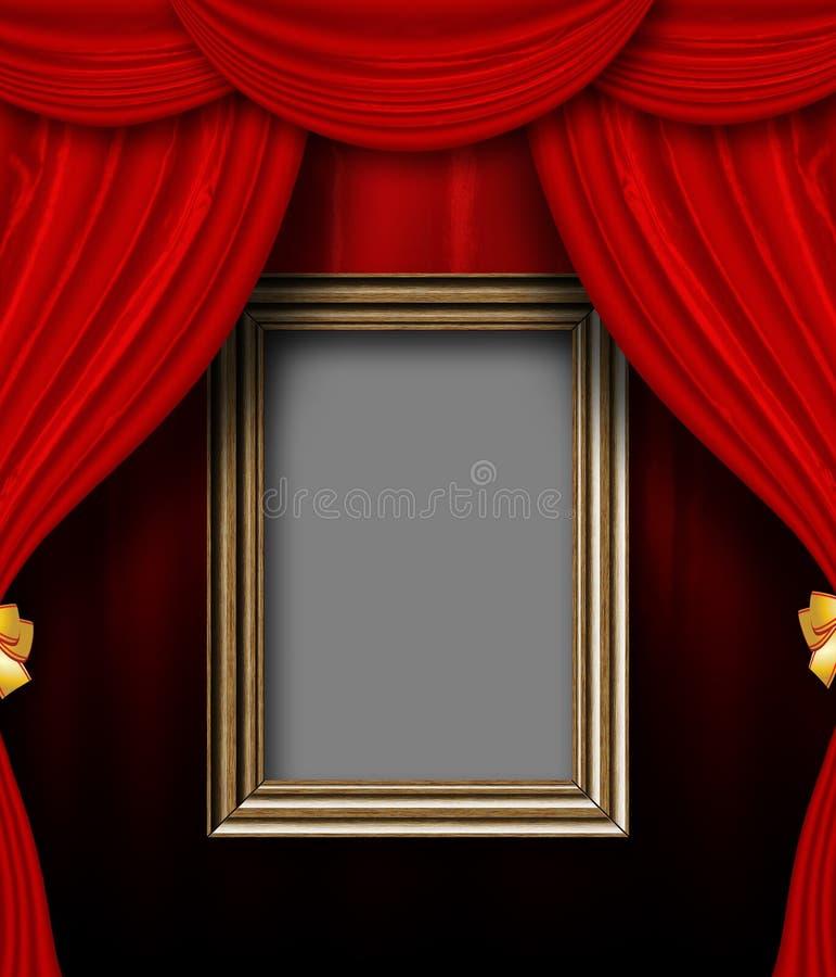 Pièce rouge de rideau avec le cadre en bois illustration stock