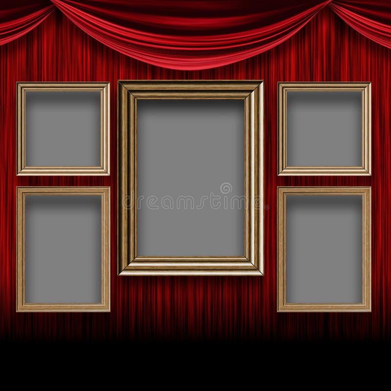 Pièce rouge de rideau avec les cadres en bois illustration libre de droits