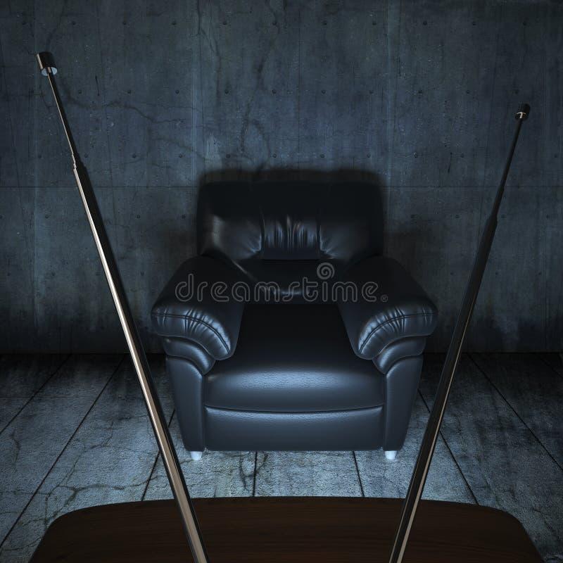 Pièce sale avec un divan et une TV illustration de vecteur