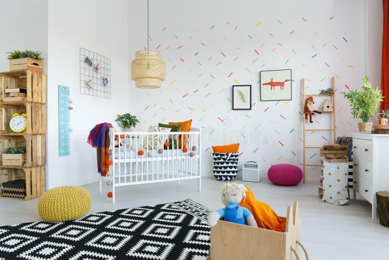 Pièce scandinave du ` s de bébé de style images libres de droits