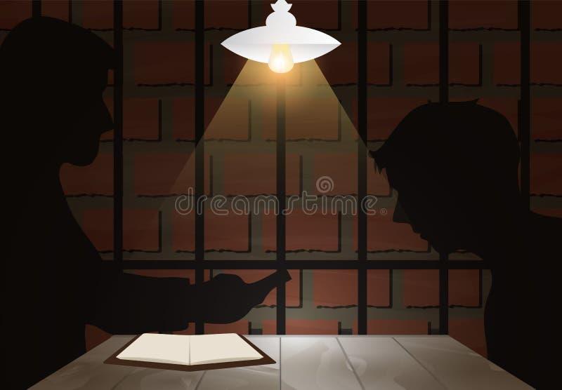 Pièce sombre d'interrogation avec révélateur et suspect ou la victime Ja illustration stock