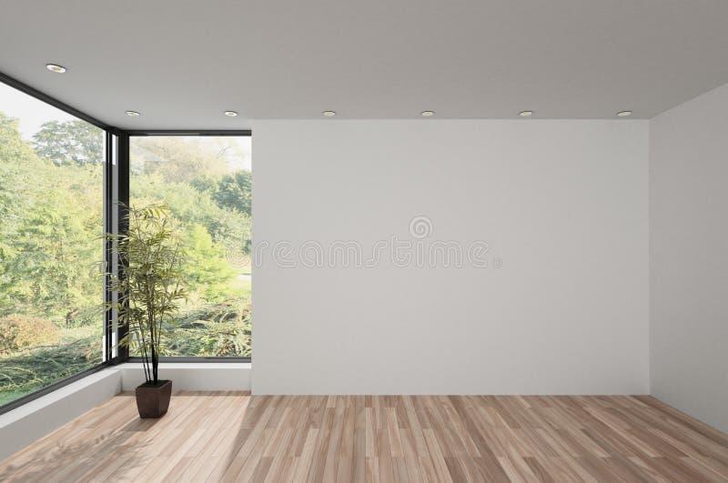 Pièce spacieuse vide avec le parquet en bois illustration libre de droits