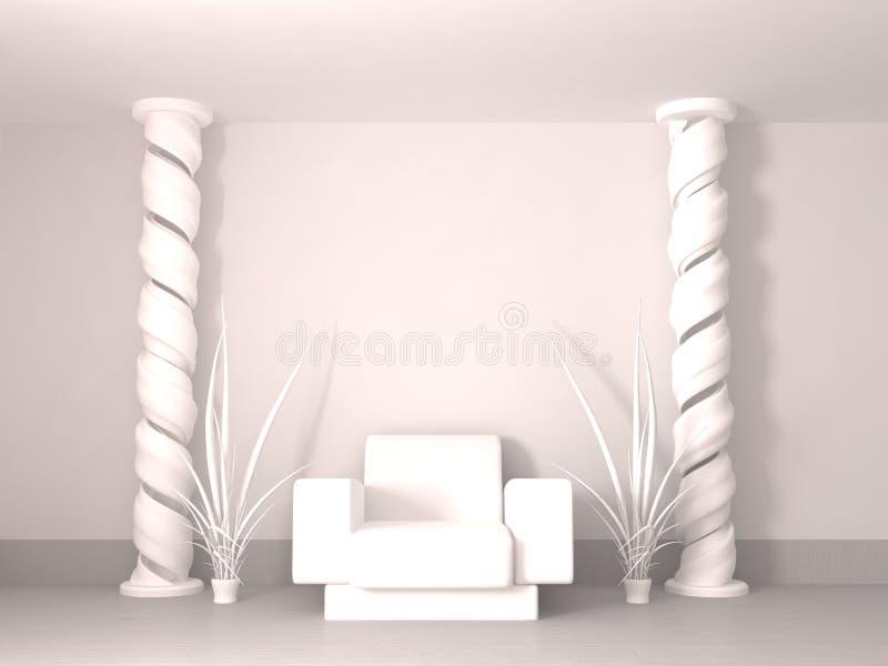 Pièce spiralée de pilier, blanche illustration stock