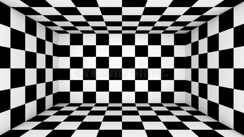 Pièce vide à carreaux Papier peint abstrait, fond parquetant noir et blanc de texture de modèle d'illusion illustration des place illustration stock
