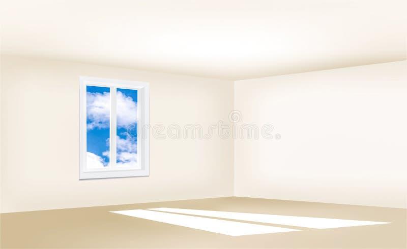 Pièce vide avec des murs beiges, une fenêtre et un ciel bleu illustration stock