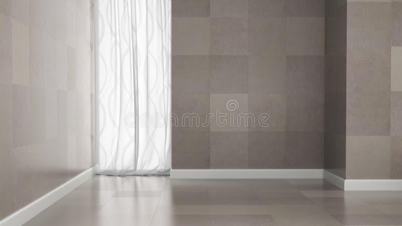 Pièce vide avec des murs de tuile de granit illustration de vecteur