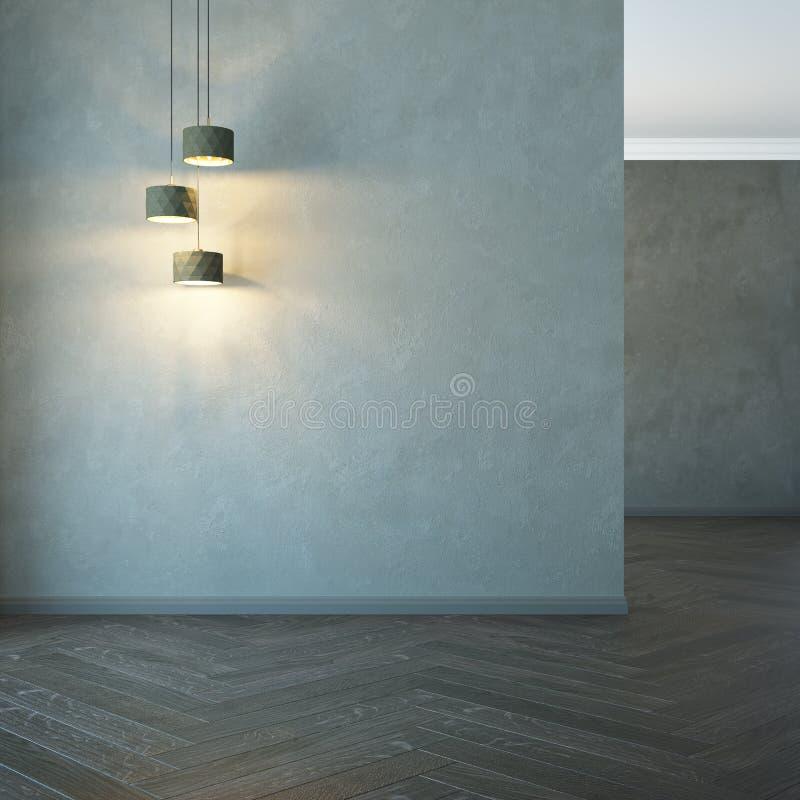 Pièce vide avec la lumière, rendu 3d illustration de vecteur