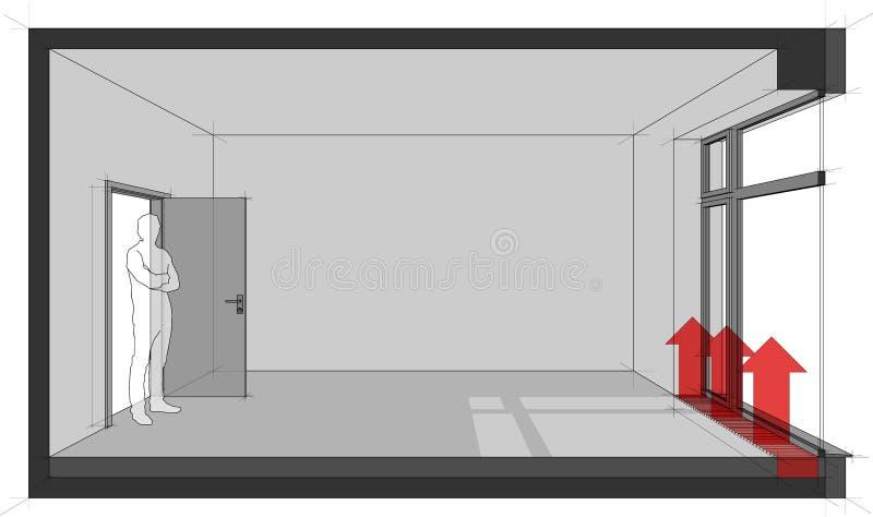 Pièce vide avec la porte-fenêtre et le convecteur de chauffage par le sol illustration de vecteur