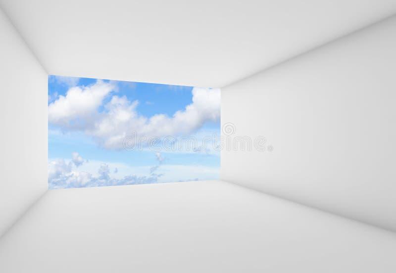Pièce vide avec le ciel nuageux bleu, 3d illustration de vecteur