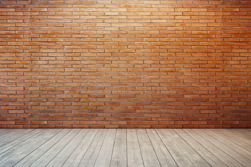 Pièce vide avec le mur de briques rouge image libre de droits