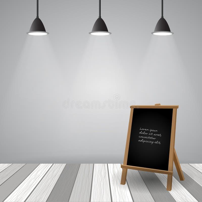 Pièce vide avec le plancher en bois blanc illustration libre de droits
