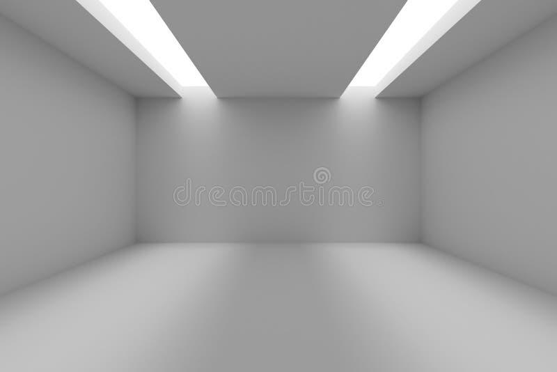 Pièce vide avec les murs blancs et l'ouverture dans le plafond illustration de vecteur