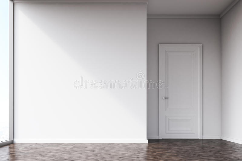 Pièce vide avec les murs blancs et le plancher en bois sombre photographie stock