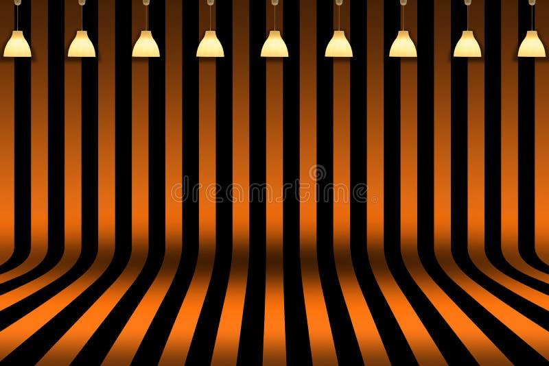 Pièce vide - barrez la pièce dans la conception noire et orange avec l'éclairage de lampe pour le fond de carte de Halloween illustration libre de droits