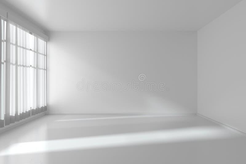 Pièce Vide Blanche Avec Les Murs Plats, Plancher Blanc Et Fenêtre