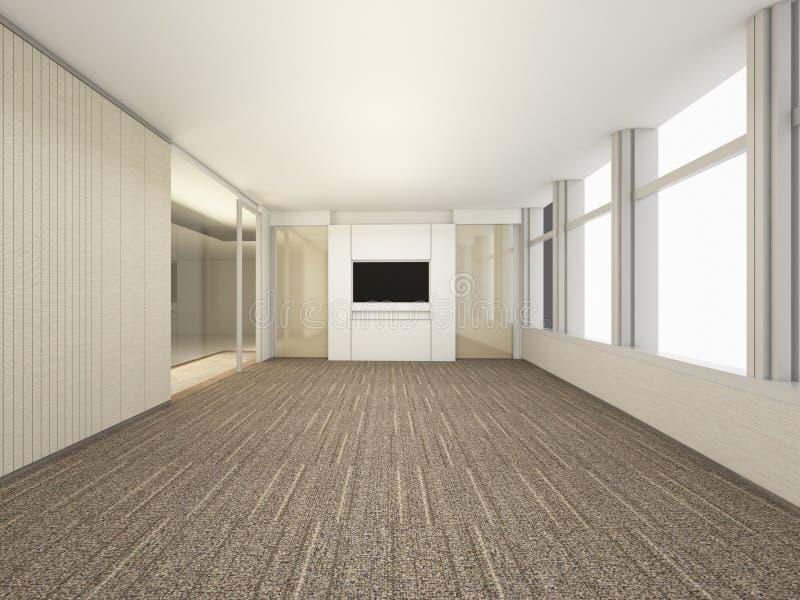 Pièce vide blanche de luxe, lieu de réunion du rendu 3D, DES intérieur illustration libre de droits
