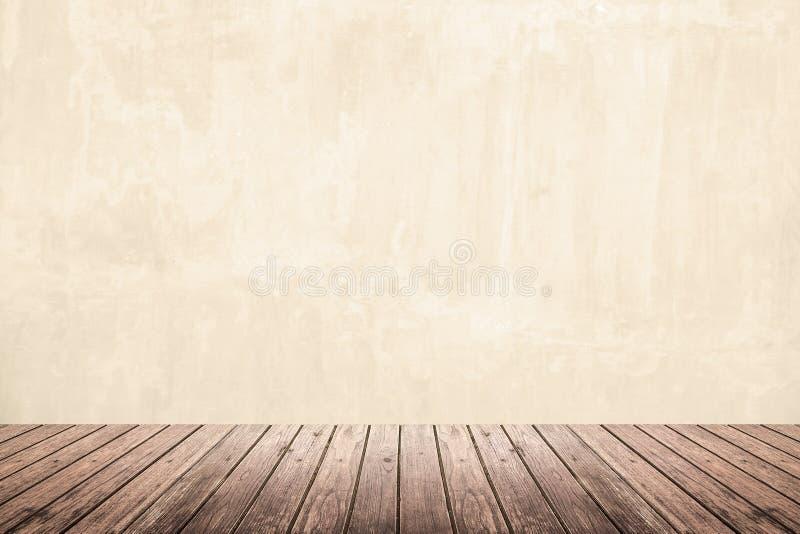 Pièce vide de mur grunge et de plancher en bois image stock
