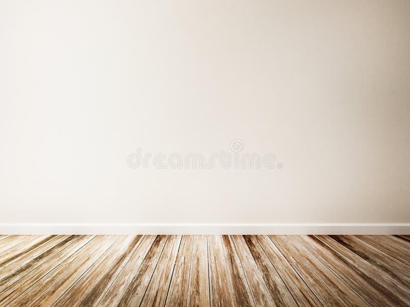 Pièce Vide Du Plancher Blanc De Mur Et En Bois Illustration Stock