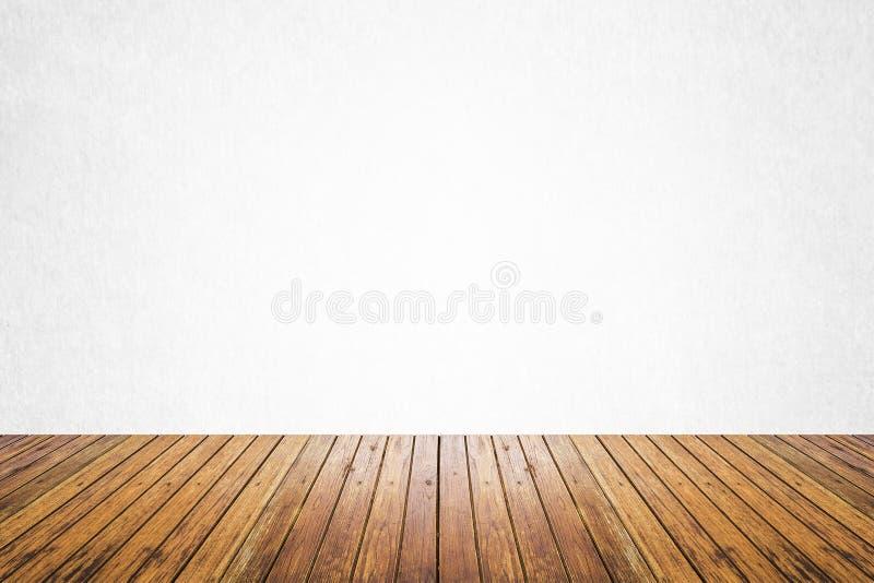 Pièce vide du plancher blanc de mur et en bois image libre de droits