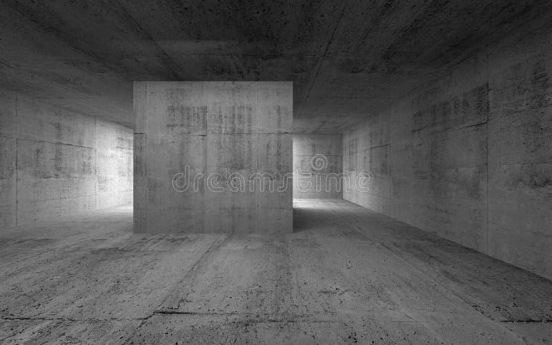 Pièce vide, intérieur concret abstrait sombre illustration de vecteur