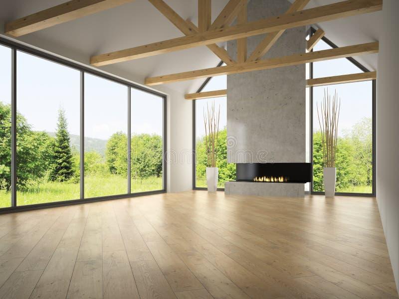 Pièce vide intérieure avec les combles et la cheminée 3D rendant 2 illustration stock