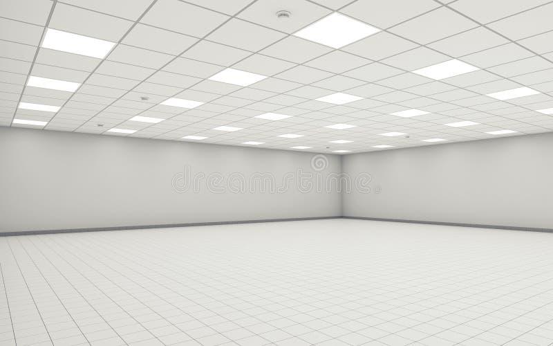 Pièce vide large abstraite 3d intérieur de bureau illustration libre de droits