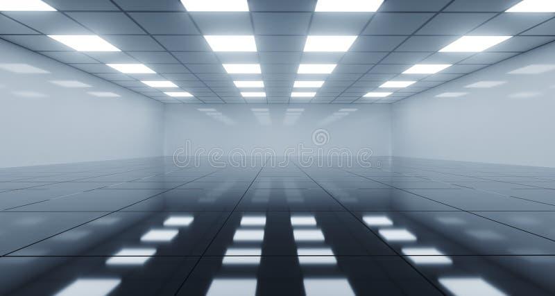 Pièce vide noire et blanche énorme avec les lumières carrées sur le plafond illustration libre de droits