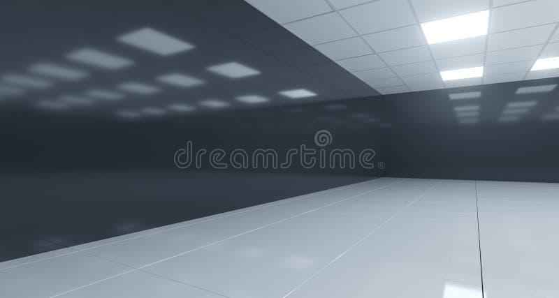 Pièce vide noire et blanche de plan rapproché avec les lumières carrées sur le plafond illustration stock