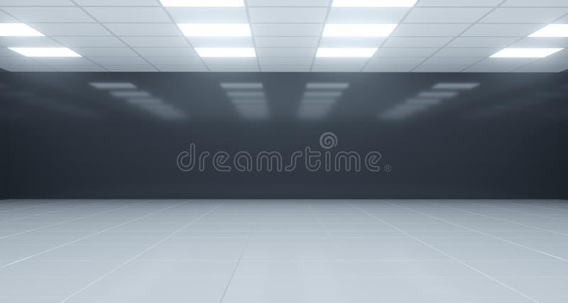 Pièce vide noire et blanche de plan rapproché avec les lumières carrées sur le plafond illustration libre de droits