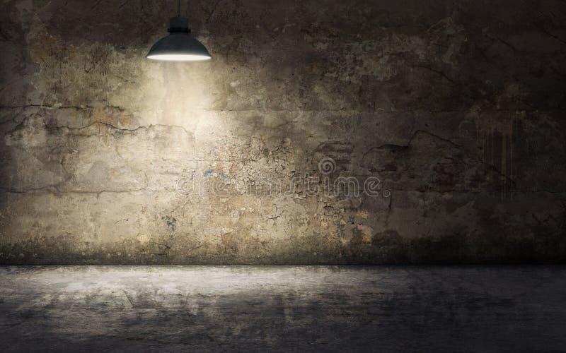 Pièce vide sombre avec le vieux mur en béton et lampe endommagés de plafond illustration de vecteur