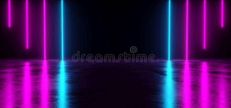 Pièce vide sombre futuriste de Sci fi avec la lueur au néon bleue et pourpre illustration libre de droits