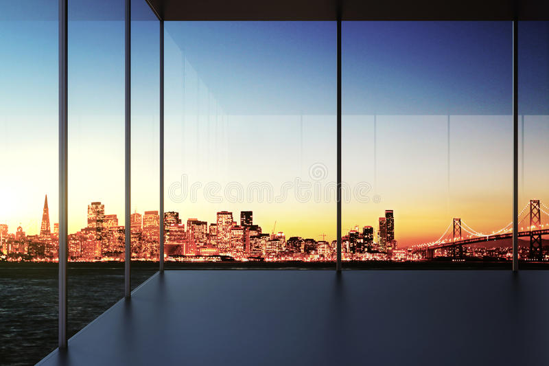 Pièce vide transparente moderne avec la vue de ville au coucher du soleil image libre de droits