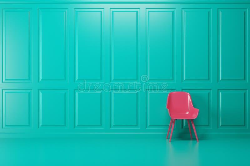 Pièce vide verte, chaise rose illustration libre de droits