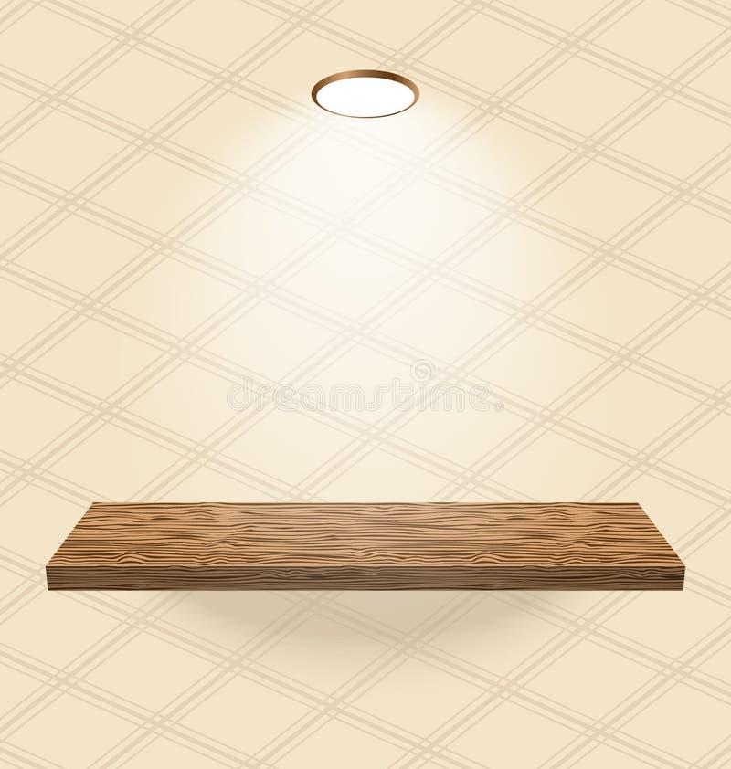 Pièce wallpapered par cru avec l'étagère en bois légère illustration libre de droits