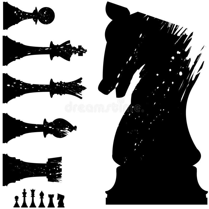 Pièces d'échecs de vecteur dans le type grunge illustration de vecteur
