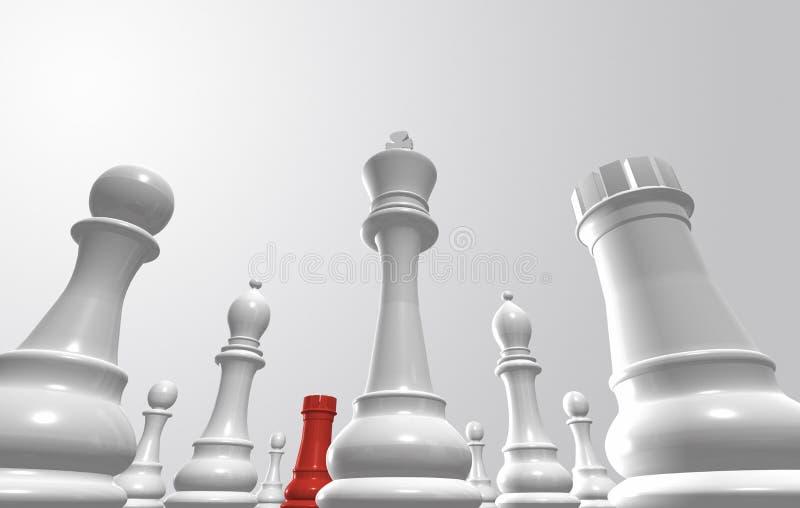 Pièces d'échecs entourant un de l'équipe opposée illustration de vecteur
