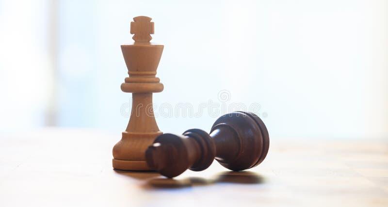 Pièces d'échecs foncées, couleur brun clair Fermez-vous vers le haut de la vue des rois avec des détails Fond brouillé image libre de droits